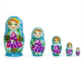 "6"" Set of 5 Iris Russian Nesting Dolls"