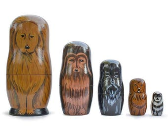"6.5""  Set of 5 Dogs- Golden Retriever, Husky, Terrier, Labrador Wooden Russian Nesting Dolls"