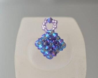 Swarovski crystal pendant cube tanzanite ab2x
