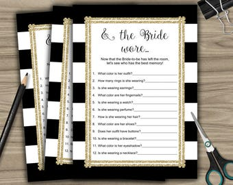 And The Bride Wore - Bridal Shower - Game - Cards - Black and White - Gold - PRINTABLE - INSTANT DOWNLOAD - diy - L29