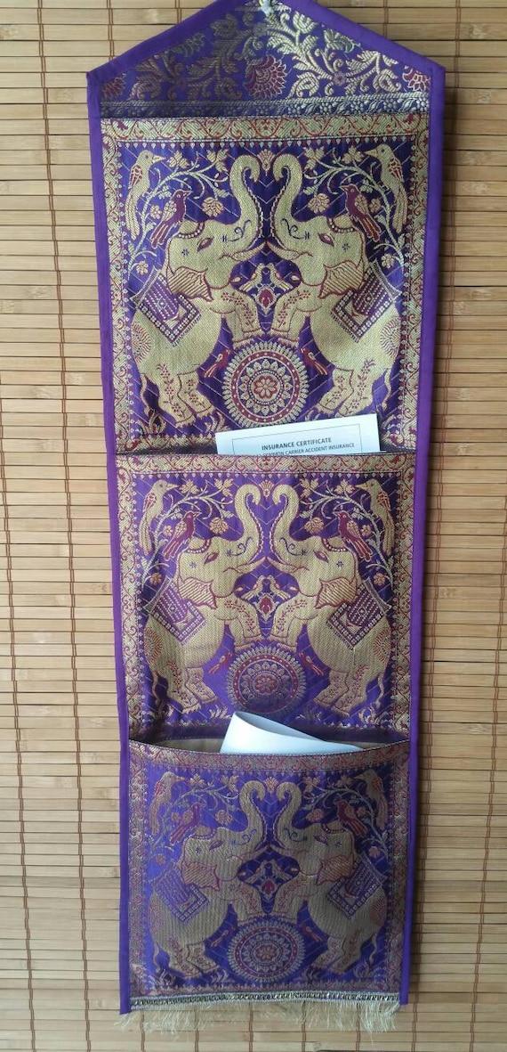 Purple pocket holder/document organizer/bohemian mail holder/wall pocket/indian mail holder/elephant mail holder/hanging mail sorter