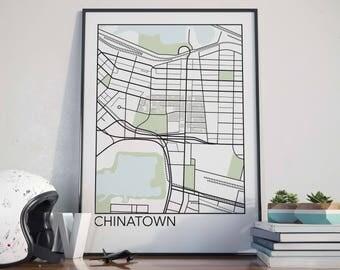 Chinatown, Vancouver Neighbourhood Map Print