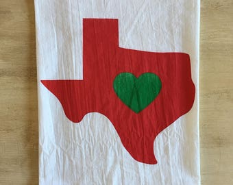 Texas Love - Christmas Edition Screen Printed Flour Sack Tea Towel - Made to Order