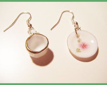 Earrings miniature dishes, plates and Cup flower ♥ ♥