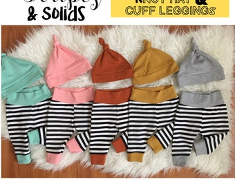 Solids & Stripes newborn/0-3m/3-6m knot hat/or knot headband  and cuff leggings sets. Choose color and size.