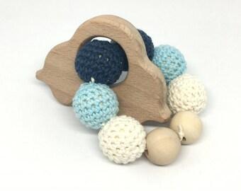 Car blue wooden beads rattle