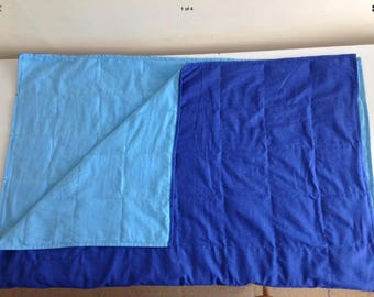 180cm x 130cm Weighted Blanket Dark Blue Cotton and Pale Blue Brushed Cotton