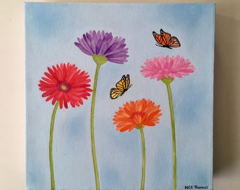 Gerbera and butterflies Watercolour and acrylic painting on canvas