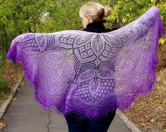 Knit shawl,knit wrap,Lace wool shawl Purple Electric,wedding shawl,cape,bridesmaids shawl,wool shawl,delicate shawl,knitted shawl,shawl wrap