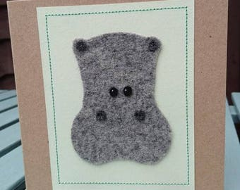Hippo Hand Stitched Wool Felt Pastel Stitched Square Craft Greeting Card.