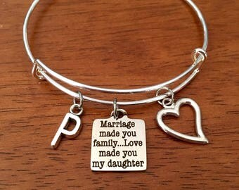 Daughter in law gift, daughter in law bracelets, daughter in law wedding gift, daughter in law wedding day gift, marriage made you family