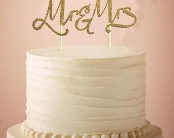 Glittery Gold Mr & Mrs Wedding Cake Topper - Mr and Mrs Cake Topper - Wedding - Wedding Cake Topper - Mr and Mrs Wedding Decor - One Topper
