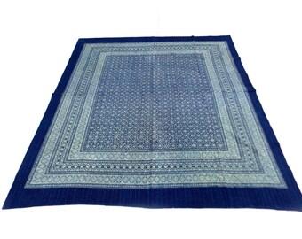 Floral Design Indigo Handmade Kantha Throw Bedspread Reversible Vintage Quilt in Blue Color