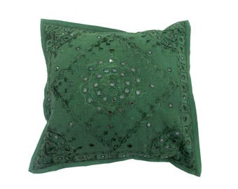 Indian Pure Cotton Cushion Cover Home Mirror Work Decorative Green Color Size 17x17""