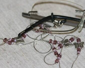 Butterflies Eyeglasses Chain,Silver Color Eyeglasses Chain,Handmade Eyeglasses Chain with Butterflies and Beads,Delicate  Eyeglasses Chain ,