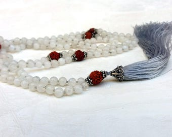 moonstone rudraksha silver mala necklace