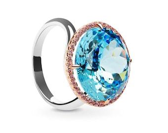 Sparkling Blue Topaz Round Ring