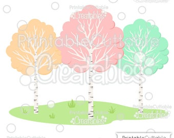 Woodland Birch Trees SVG Cut File & Clipart E265 - Includes Limited Commercial Use!