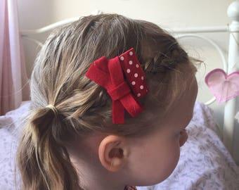 Hair clips | 3 Handmade 100% felt bow & ribbon hair clips, school bows, hair clips, hair bows