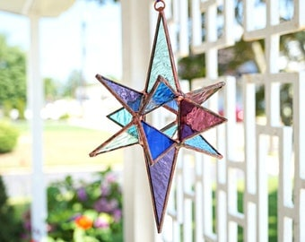 Medium purple and blue stained glass Moravian star, stained glass Christmas star, glass suncatcher, stained glass star, 3-D glass star,