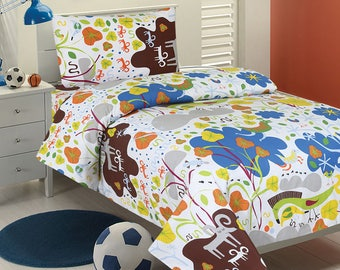 Jungle Themed Flower & Animal Kids Bedding Set (TWIN)