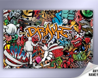 Personalised Graffiti Abstract Canvas