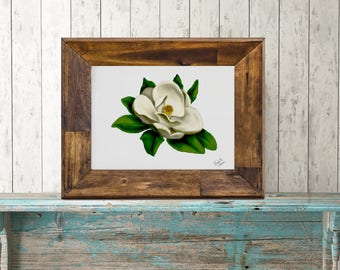 Southern Magnolia Botanical Print, Original Flower Painting, Floral Art Print