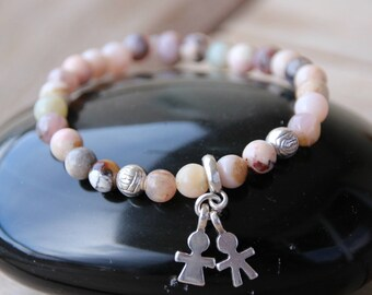 Bracelet with morganite and charm beads