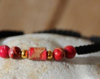Pink shamballa bracelet with Jasper bead