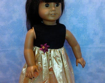 Gold and Black Christmas dress for American Girl and My Generation