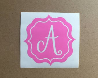 Monogram Decal | Single Initial Decal | Monogram Frame | Personalized Decal | Laptop Decal | Car Decal