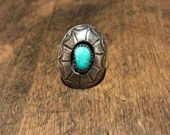 Vintage Old Pawn Sterling Silver and Turquoise Ring