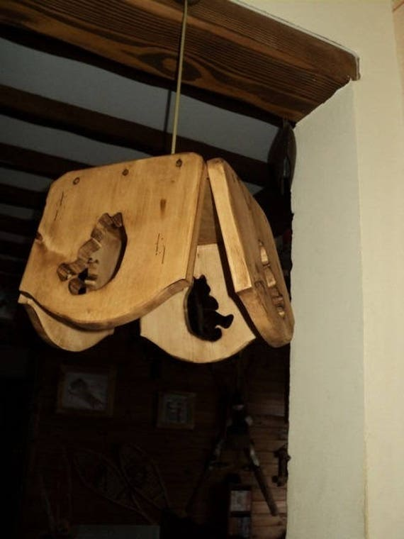 lustre luminaire motif ours 100 bois chambre enfant cocooning. Black Bedroom Furniture Sets. Home Design Ideas