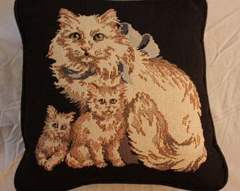 Vintage Cat and Kittens Decorative Pillow