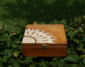 made to order wooden box personalized pyrography custom box tea box jewelry box sunflower wood burned rustic box