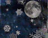Night Sky Snowflakes Moon Art wall art  home decor Original square pigment print  Digital print  holiday Decorative customizeable colors