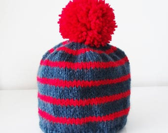 Baby hat in wool with a red tassel - Navy striped hat for baby 3/6 months
