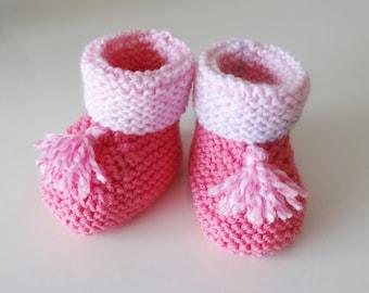Pink woolen boots 0/3 month baby