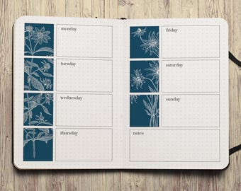 Week on Two Pages bujo a5 inserts dot grid pages a5 bujo printable bujo download bujo journal pages bullet journal a5 inserts journal