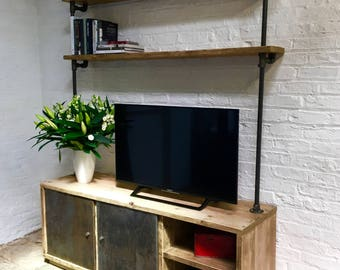 Lori Reclaimed Scaffolding Board and Steel Pipe Media Unit with Open Storage, Shelves and Distressed Steel Sliding Cupboard Doors