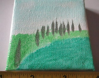 Hand Painted Hills with Trees on Canvas