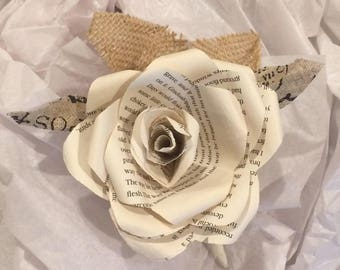 Book page rose pin on corsage