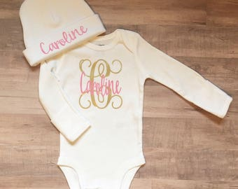 personalized baby bodysuit, monogram baby gift, baby girl coming home outfit, initial baby outfit, infant girl clothes, newborn photo outfit