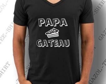 """T-shirt """"Papa gâteau."""" 100% coton. Une idée cadeau original pour Papa gâteau! noël, anniversaire, fête pour papa."""
