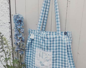 French check blue bag cabbages and roses