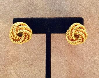 Vintage Gold Tone Knot Pierced Earrings