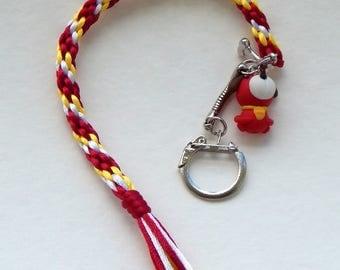 Dog white yellow red kumihimo braided keychain