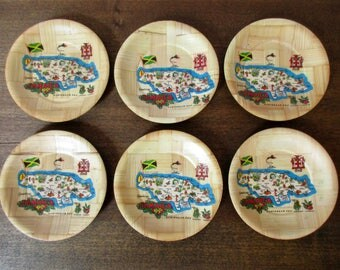 Vintage Jamaica Coasters, Jamaica Kitsch Souvenir, Jamaica Bamboo Beverage Drink Holders Galmper Camper