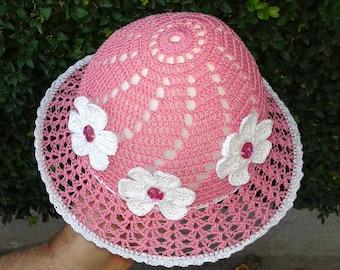 Girls summer hats Crochet girl hat Suns hats Beach hats kids Summer beanie Brim hat Crochet white flower Girls sun hat Pink white flower