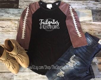 It's Football Y'all Proud Football Mom Tailgates & Touchdowns Black Raglan Shirt **CHOOSE DESIGN**
